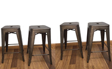 "24"" Industrial Antique Rustic Distressed Metal Barstools 4pack"