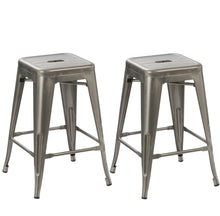 "24"" Industrial Antique Clear Brush Distressed Metal BarStools (Set of Two)"