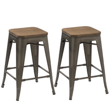 "24"" Antique Bronze Distressed Metal Barstools Handmade Wood top (Set of Two)"