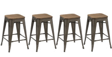"24"" Metal Vintage Rustic Distressed BarStool Handmade Wood top (Set of 4)"