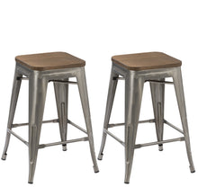 "24"" inch Metal Vintage Gunmetal Distressed Bar Stool Modern Wood top seat- 2"