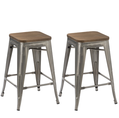 24-inch Metal Vintage Gunmetal Distressed Bar Stool Modern Wood top seat- 2