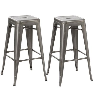 Steel Stackable Industrial Distressed Gunmetal Steel BarStool (set of 2)