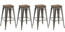"30"" Stackable Antique Brush Distressed Metal Bar Stools wood seat (Set of 4 )"