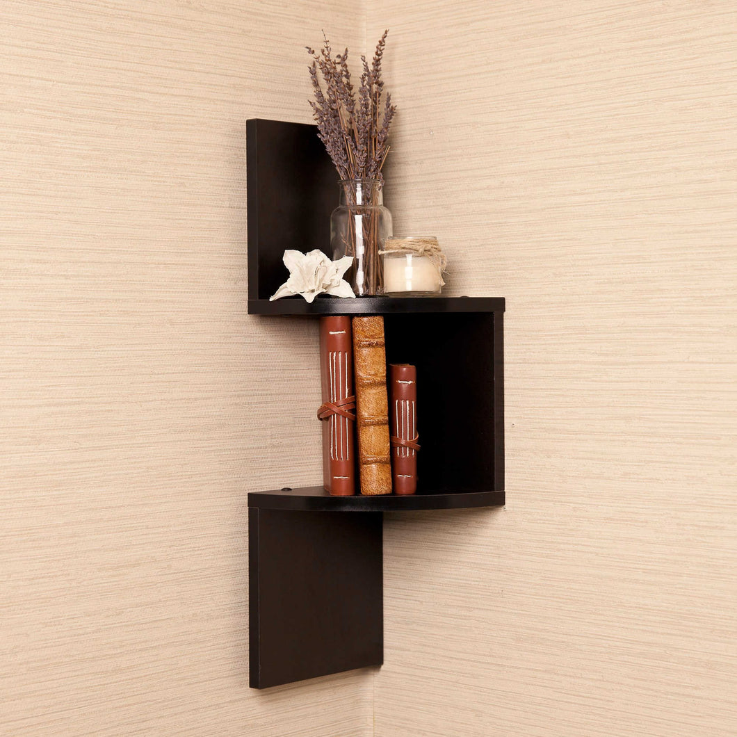 Brown Finish Corner Zig Zag Wallmount Wall Corner Side Shelf decor