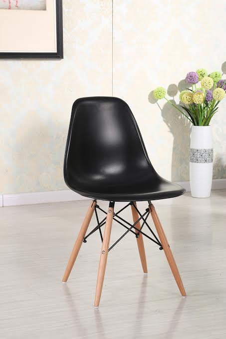Eiffel Natural Wood Legs Dining Side Chair Black DSW Set of 2