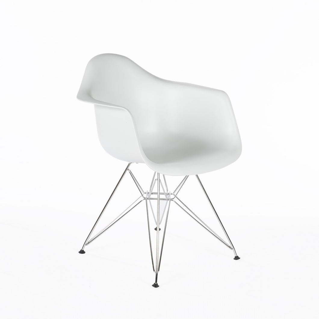 Eiffel Armchair Chrome Wire Dowell Legs Dining Arm Chair White DAR