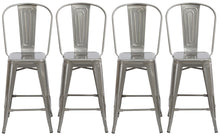 "24"" Clear Metal Antique Rustic Counter height Bar Stool Chair High Back Set of 4"
