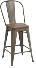 "24"" Metal Antique Rustic Counter height Bar Stool Chair High Back Wood seat Set of 2"