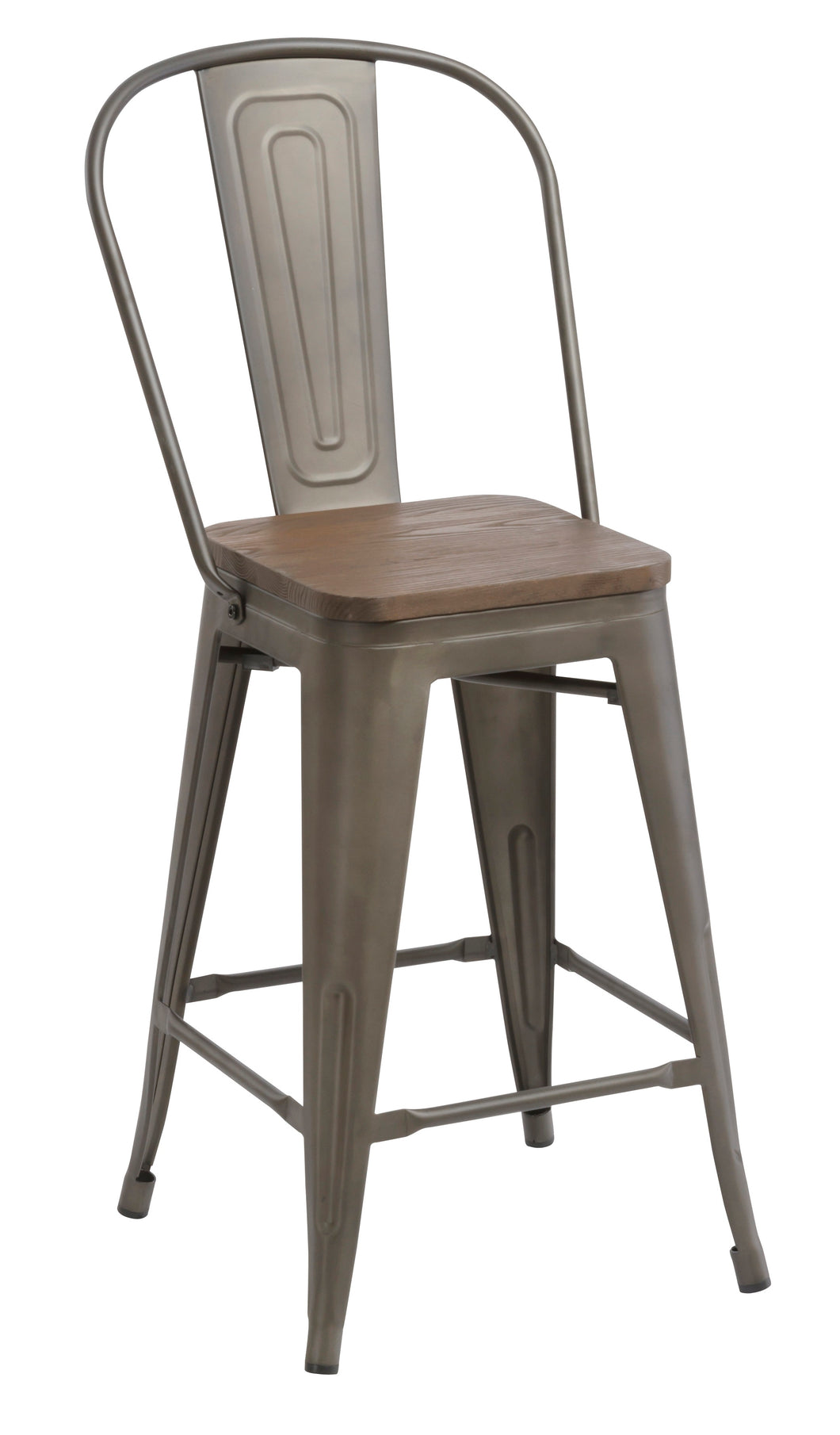 24 metal antique rustic counter height bar stool chair high back