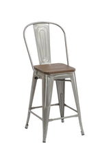 "24"" Clear Metal Antique Counter height Bar Stool Chair High Back Wood seat Set of 4"