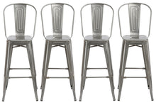 "30"" Industrial Clear Metal Antique Rustic height Bar Stool Chair High Back Set of 4"