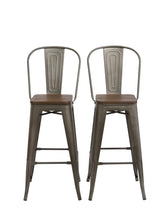 "30"" Metal Antique Rustic Counter height Bar Stool Chair High Back Wood seat Set of 2"