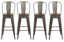 "30"" Metal Antique Rustic Counter height Bar Stool Chair High Back Wood seat Set of 4"