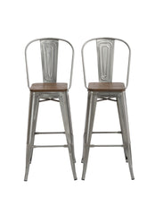 "30"" Clear Metal Antique Counter height Bar Stool Chair High Back Wood seat Set of 2"