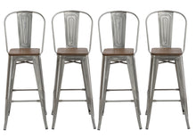 "30"" Clear Metal Antique Counter height Bar Stool Chair High Back Wood seat Set of 4"