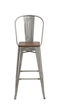 "24"" Clear Metal Antique Counter height Bar Stool Chair High Back Wood seat Set of 2"