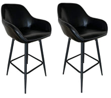 BTEXPERT 25 inch Bucket Black Faux Leather Accent Dining Bar Chair Set or 2…