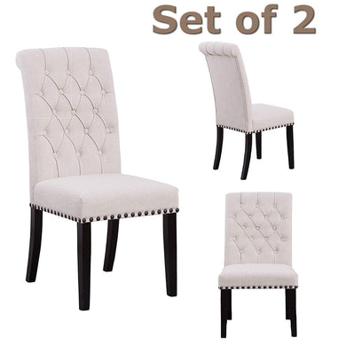 High Back Tufted Accent Upholstered Padded Dining Room Chairs Side Solid Wood - Nail Trim Linen Beige