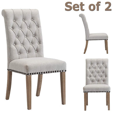 High Back Tufted Parsons Upholstered Padded Dining Room Chairs Side Solid Wood-Accent Nail Trim Linen Gray