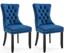 High Back Velvet Navy Tufted Upholstered Dining Chairs, Set of 2, Solid Wood - Nail Trim, Ring