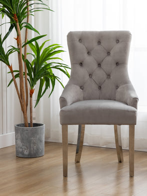 High Back Velvet Gray Tufted Upholstered Dining Chairs with Stainless steel legs Set of 2