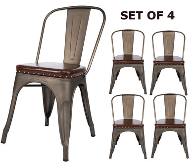 BTEXPERT Dining Chair, Set of 4 Stackable Kitchen Industrial PU Upholstered Vintage, Bronze