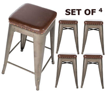 "BTEXPERT Barstool, Set of 4 Accent Nail Trim Bars Stackable Kitchen 24"" Counter Industrial PU Upholstered Vintage, Bronze"