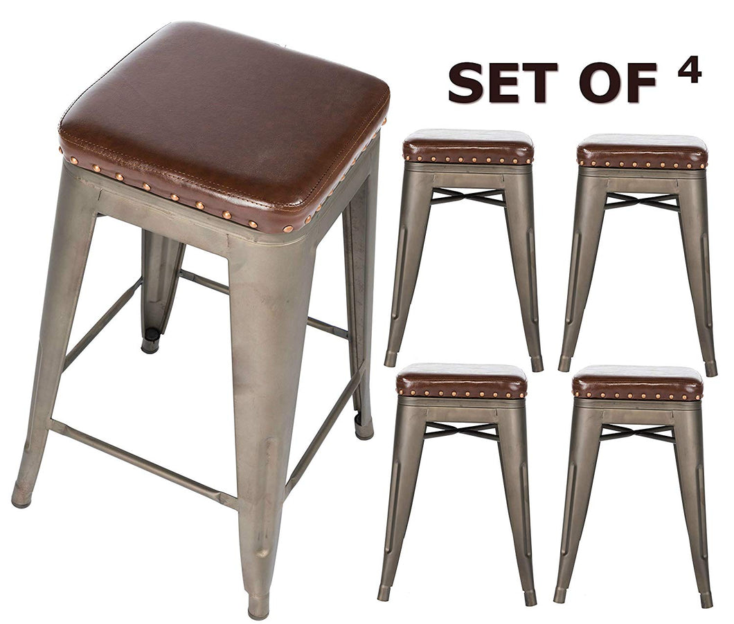 BTEXPERT Barstool, Set of 4 Accent Nail Trim Bars Stackable Kitchen 24