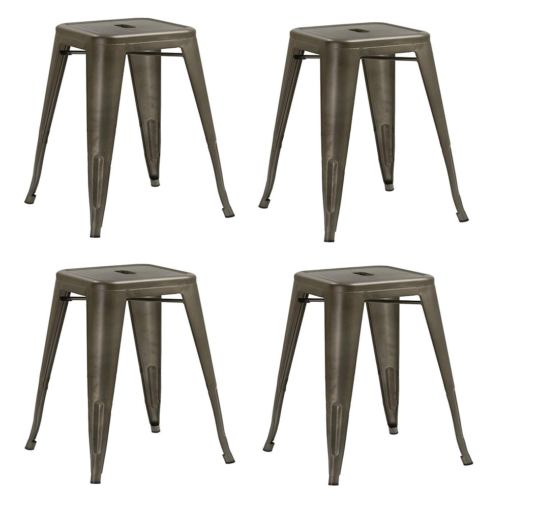 BTEXPERT Bronze Metal Set of 4 Distressed Rustic Backless stools 18 inches Stackable Industrial, Vintage Brown