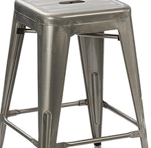 "24"" Solid Modern Distressed Metal Clear Brush Counter BarStool (Set of 4)"