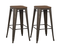 "30"" Solid Steel Stacking Industrial Rustic Metal BarStool Wood Top (Set of 4)"