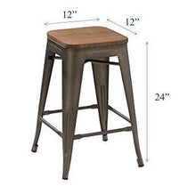 "24"" Antique Gunmetal stackable Metal Barstools Handmade Wood seat (Set of 2)"