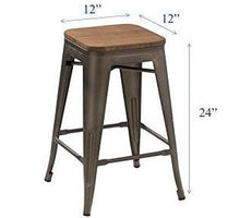 "24"" Metal Vintage Antique Gunmetal Counter Bar Stool Handmade Wood top Set of 4"