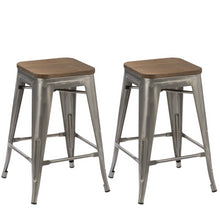 "24"" Metal Antique Brush Distressed Counter BarStool Wood seat (Set of 4)"