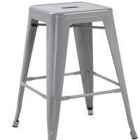 "Silver 24"" Industrial Stackable Metal Vintage Counter BarStool Silver Set of 4"