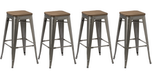 "30"" Industrial Vintage Brush Distressed Metal Bar Stools wood seat (Set of 2)"