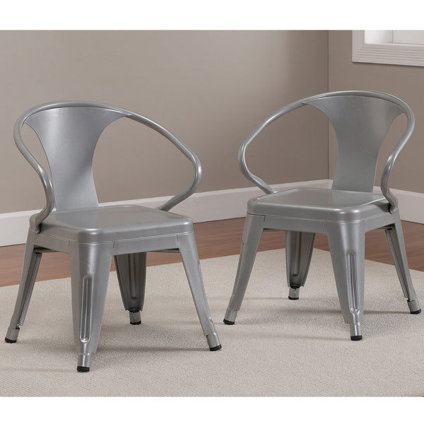 Rugged Steel Stacking Industrial Silver Kids Play Metal Chair Arms (set of 2)