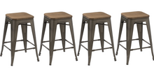 "24"" Antique Bronze Distressed Metal Barstools Handmade Wood top Stool"