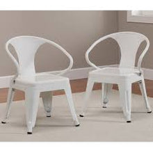 Rugged Steel Industrial White Kids Play Stackable Metal Chair (set of 2)
