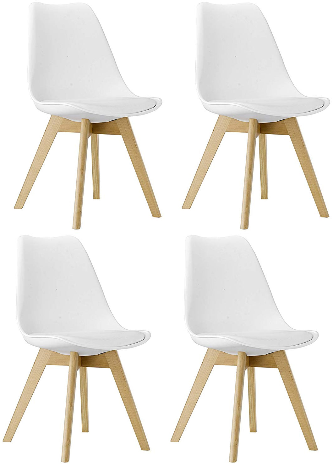 BTEXPERT m5079 Naba Modern Midcentury Wood Leg Soft Padded Upholstery White Dining Chairs Set of 4