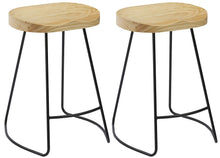 "BTEXPERT Industrial 24"" Counter Bar Height Large Bistro Stools saddle Wood 2 PCS"