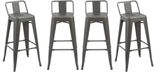 BTEXPERT Industrial 30 inch Gunmetal Indoor Outdoor Low Back Counter metal Bar Stool 4PC
