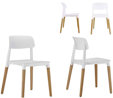 BTEXPERT 5080 Halime Dining Chairs Set of 4, Wood, White