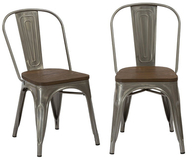 Industrial Antique Gunmetal Rustic Distress Dining Cafe Metal Side Chairs, Set of 2