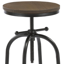 BTEXPERT Distressed Industrial Swivel Adjustable Counter Bar Height Pub Stool Wood