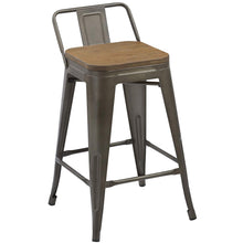"BTEXPERT Industrial 24"" Rustic Metal Wood Indoor Outdoor Counter Height Bar Stool 4PC"
