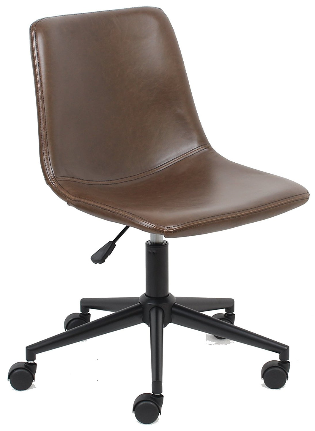 Yafa Mid Back Fuax Leather Task Chair, Brown Office Chair