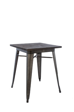 Industrial Antique Rustic Metal Indoor/Outdoor Dining Table With Wood Top