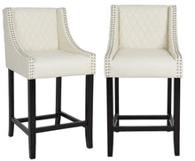 "BTEXPERT Shauhin Quilted Leather Upholstered 39"" Bar Stool Chair, Accent Nail Trim Barstool Set of 2"